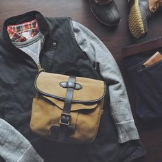 "Essentials | Sweatshirt: Buzz Rickson + Shirt: Kiel James Patrick + Vest: Barbour Westmoreland + Bag: Filson Small Field Bag + Jeans: RRL Slim Fit + Belt & Wallet: Vermilyea Pelle + Boots: LL Bean 8"" Bean Boots 