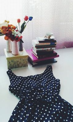 Navy blue polka dot dress with bow and by MyNameIsSueclothes