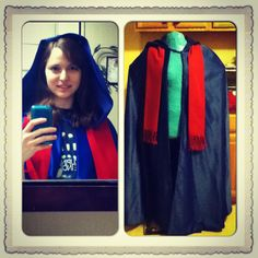 Completed wishing cloak including hair comb for securing the hood and red scarf. 2014