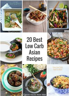 Low Carb Meals - A collection of some of the best low carb Asian-inspired recipes from around the internet. Most of these are keto, lchf, Paleo and Atkins diet friendly! Atkins Recipes, Paleo Recipes, Low Carb Recipes, Pescatarian Recipes, Low Carbohydrate Diet, Low Carb Diet, Keto Foods, Paleo Diet, Easy Asian Recipes