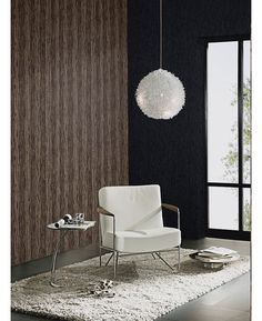 This Bark Glitter Wallpaper in brown, black and gold features a contemporary pattern infused with subtle glitter. Free UK delivery available Glittery Wallpaper, Striped Wallpaper, Wood Effect Wallpaper, Antique Gold, Wall Decor, Colours, Contemporary, Free Uk, Chair