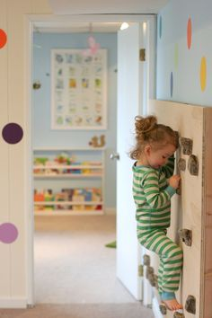 Playroom ~ love the dots and rock climbing wall- super cool to have normally outdoorsy activities inside! Edison Avenue: Amazing DIY Playroom With Rock Climbing Wall Indoor Climbing Wall, Rock Climbing, Kids Climbing, Climbing Holds, Toddler Climbing Wall, Casa Kids, Ideas Habitaciones, Playroom Design, Playroom Ideas