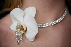 White orchid and rhinestone choker prom necklace White Orchid Bouquet, White Orchids, In Bloom Florist, Prom Necklaces, Prom Flowers, Rhinestone Choker, Bouquets, Chokers, Earrings
