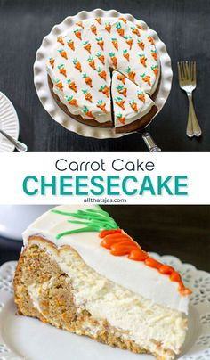 This delicious cake is made by combining two favorite recipes: a carrot cake and a cheesecake. Why settle when you can have both? | allthatsjas.com | #dessert #carrotcake #cake #cheesecake #sweets #allthatsjas #recipes #holidaytreat #howto #carrots #creamcheese
