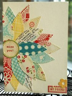 card making ideas Scrapbooking Inspiration / FUN with paper or fabric! on we heart it / visual bookmark Fabric Cards, Paper Cards, Fabric Postcards, Karten Diy, Beautiful Handmade Cards, Diy Handmade Cards, Flower Cards, Diy Cards With Flowers, Flower Paper