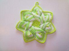 Star Flower Potholder  Key Lime Pie  100% Cotton by BeyondCrochet
