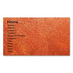 Orange glitter business cards. Make your own business card with this great design. All you need is to add your info to this template. Click the image to try it out!