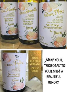 Will You Be My Bridesmaid Gift- Personalized Bridesmaid Gifts- Gold Custom Will You be my Bridesmaid Wine Label Unique Wedding Gift / Shower