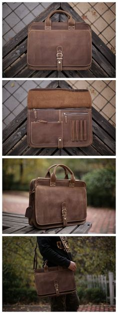 e08c6f337714ca Handcrafted Antique Style Top Grain Leather Mens Briefcase Messenger Bag  Laptop Bag 6020