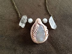 Moonstone necklace with glass beads and luster by thisthatandthese