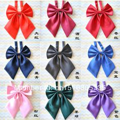Pure Solid Color Butterfly Knot Cravat Bow Tie Female Formal School Style Student Uniform Neck Tie