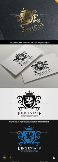 King Real Estate — Vector EPS #flourish #crown • Available here → https://graphicriver.net/item/king-real-estate/9801455?ref=pxcr