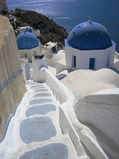 Stairway, Churches in Oia, Santorini, Greece