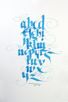 Calligraphy Gothic Alphabet Letters formed into a circle. Done sometime in the 80's