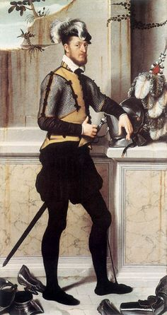 An unusual armored portrait by Moroni. The sitter is shown surrounded by his garniture and is shown in an arming doublet with mail voiders pointed on.