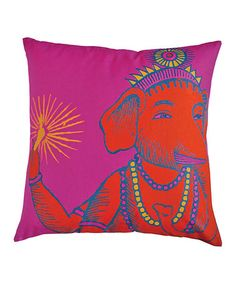 Take a look at this Fuschia Ganesh Print Square Bazaar Pillow by Koko Company on #zulily today!