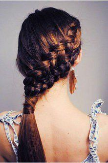 You guys realize its 2 Dutch braids into a hair wrapped pony.....