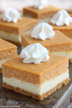 Two fall favorite desserts – pumpkin pie meets velvety cheesecake in these scrumptious pumpkin cheesecake bars. These easy to make pumpkin cheesecake bars combine two of my favorite fall desserts. P(Baking Cheesecake Bars) Mini Desserts, Fall Desserts, Delicious Desserts, Plated Desserts, Fall Dessert Recipes, Pumpkin Cheesecake Recipes, Layered Pumpkin Cheesecake, Dessert Aux Fruits, Pumpkin Dessert