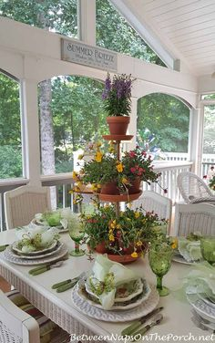 Springtime Table Setting with Ma Maison and a Tiered Planter Centerpiece how sweet is THIS! ty between naps on the porch! Formal Dining Tables, Tiered Planter, Table Setting Inspiration, Beautiful Table Settings, Centerpiece Decorations, Tablescapes, Cement Tiles, Mosaic Tiles, Wall Tiles