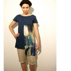 Blue summer tunic upcycled clothing color blocking eco friendly #summer #color blocking #fashion #apparel #linen  #geometric #women #relogyyy #recycled #clothing #shirt #tunic #blouse