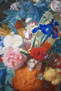 Flowers in a Terracotta Vase (detail)  By Jan van Huysum, 1736-7. National Gallery, London