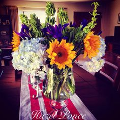 DIY table runner and flower arrangement