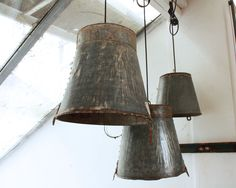 Bucket Lamp... make your own with our iron buckets..... Maak je eigenlamp met onze emmers van gerecyled bilk!!