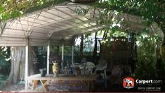 This regular style carport was turned into an outside patio area. Our carports are versatile and strong. Call today to order! Gazebo, Pergola Carport, Building A Pergola, Diy Pergola, Carport Ideas, Carport Garage, Pergola Ideas, Pergola Kits, Outside Patio