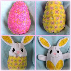 Peekaboo Bunny In the Hoop Stuffed Softie - Reversible folds into an egg from A Creative Medley