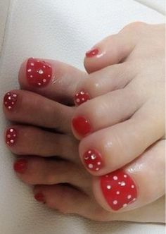 red pedicure w/crystals