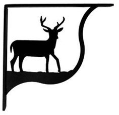 Wrought Iron Wall Mounted Shelf Brackets - Small for 1 x 6 Shelf. Mounting hardware is included. Black baked-on satin matte powder coat finish. (Wood shelf is not included. Wrought Iron Shelf Brackets, Decorative Shelf Brackets, Wall Shelf Brackets, Wall Mounted Shelves, Hanging Shelves, Shelf Display, Black Deer, Black Metal, Small Deer