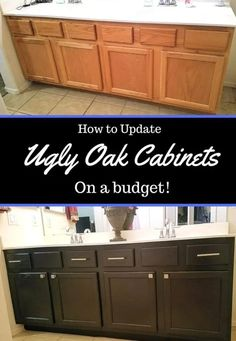 Kitchen Remodel On A Budget How to Update Ugly Oak Cabinets On A Budget - Hate your ugly oak cabinets? Rather than spend money on remodeling or sanding and painting, you can simply restain oak cabinets for super cheap! Oak Kitchen Cabinets, Built In Cabinets, Painted Oak Cabinets, Paint Bathroom Cabinets, How To Restain Cabinets, Restaining Cabinets, Staining Oak Cabinets, Repainting Kitchen Cabinets, Oak Cabinet Makeover Kitchen