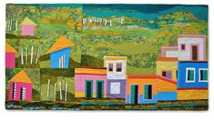 HISPANIOLA quilt by Hilde Morin Colorful villages and coconut plantations of the Dominican Republic