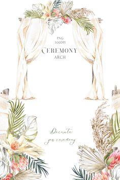 Ceremony Arch, Beach Ceremony, Beach Wedding Arches, Wedding Backdrop Design, Wedding Decorations, Watercolor Wedding, Floral Watercolor, Protea Flower, Flowers
