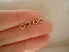 Gold Infinity Stud Earrings Minimalist Wire Jewelry