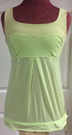 Lululemon Tame Me Neon Lime Green Workout Yoga Tank Top Athletic Shirt Size 6  #Lululemon #ShirtsTops