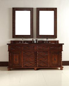 """James Martin 100-V72-BCH-BCH Continental 72"""" Burnished Cherry Double Vanity with Wood Top"""