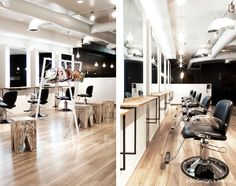 House Design,Captivating Hair Salon Interior Design With Black Leather Seat And Headboard Barber Chair Also Maple Wood Tile Floor And Large Wall Mount Mirror For Man Hair Salon Interior Decor,Breathtaking Hair Salon Interior Design