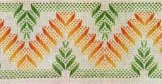 Easy on Monk, Aida, or Huck Cross Stitch Borders, Cross Stitching, Cross Stitch Embroidery, Embroidery Patterns, Hand Embroidery, Cross Stitch Patterns, Bargello Needlepoint, Needlepoint Stitches, Needlework