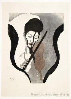 Koshiro Onchi  Impression of a Violinist (Portrait of Suwa Nejiko), 1946  woodblock print