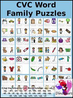 CVC Word Family Puzzles -  -ad, -ab, -ag, -am, -an, -ap, -ar, -at, -eb, -ed, -eg, -en, -et, -ib, -id, -ig, -in, -ip, -it, -ob, -od, -og, -op, -ot, -ub, -ud, -ug, -um, -un, -up, -ut - Cost: $3 - 3Dinosaurs.com
