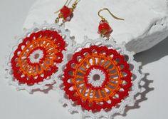 Pendientes de crochet-ganchillo  Pendientes largos  Joyería de ganchillo Rojo,naranja y blanco