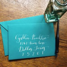 Cynthia style calligraphy envelope address, Paperbrook calligraphy original instagram post.