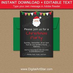 Printable Santa Invitation #ChristmasParty #ChristmasInvitation #HolidayParty #Santa