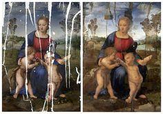 """Combo fotográfico mostrando el cuadro la """"Virgen del Jilguero"""" de Rafael, antes y después de la restauración que ha durado diez años y que ha recuperado los colores que le dio Rafael a principios del siglo XVI."""