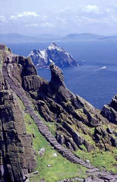 The stone stairway of Skellig Michael, Skellig Islands, Co Kerry, Ireland.