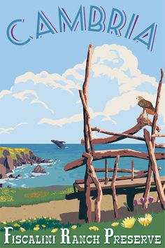 Cambria vintage travel poster by Steve Thomas
