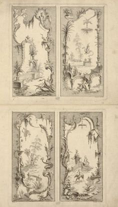 Whimsical panel invented by Bellay and engraved by Gabriel Huquier around 1740 Chinoiserie, Wallpaper Stencil, Art Asiatique, Art Japonais, Mysterious Places, Grisaille, Rococo Style, Decorative Panels, Vintage Crafts