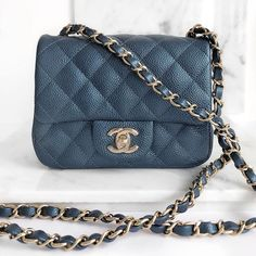 c5040fe6ac22 Brand new Chanel Square Mini in 18S Blue Caviar is now available for $3,495  USD at GLAMSHOCK.COM (ALL…