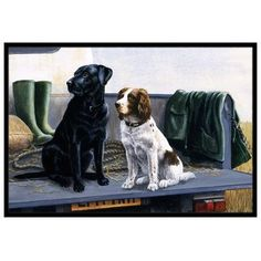 "Caroline's Treasures On The Tailgate Labrador and Springer Spaniel Doormat Rug Size: 1'6"" x 2'3"""
